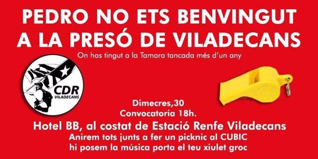 Convocatòria dels CDR davant l'acte de Pedro Sánchez a Viladecans (Barcelona)