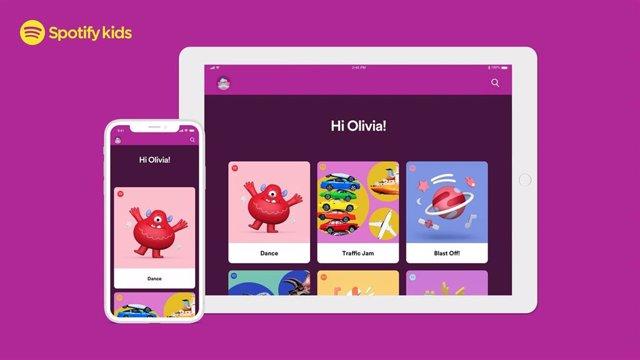 La aplicación Spotify Kids para niños.