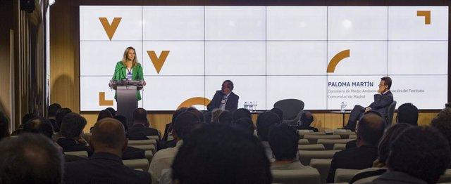 La consejera de Medio Ambiente de la Comunidad de Madrid, Paloma Martín, en la inauguración del Congreso de Reciclaje de Papel