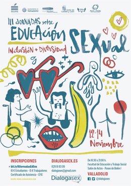 Cartel de las III Jornadas de Educación Sexual que la asociación Dialogasex impartirá en la UVA.