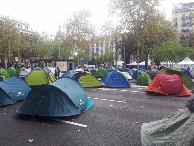 L'acampada de la plaça Universitat supera el centenar de tendes i programa xerrades i taules de debat.