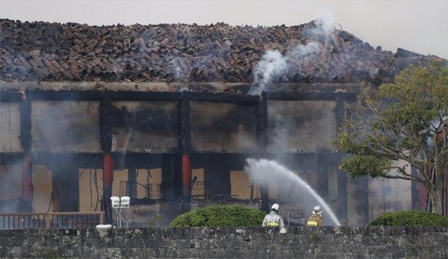 El Castillo de Shuri, en la localidad de Naha, en la región de Okinawa, tras sufrir un incendio
