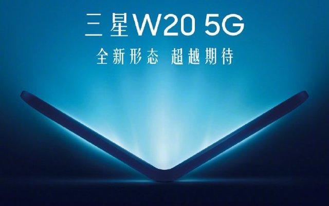 Cartel promocional del móvil flexible Samsung W20.