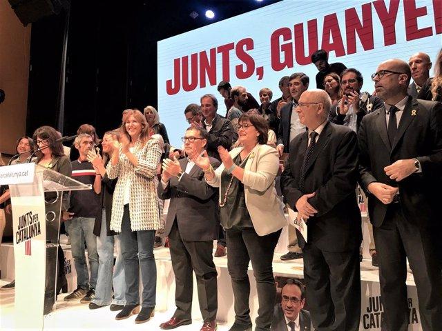 JxCat obre campanya de les eleccions generals del 10 de novembre de 2019 amb els caps de llista per Barcelona Laura Borràs (Congrés) i Roger Español (Senat)