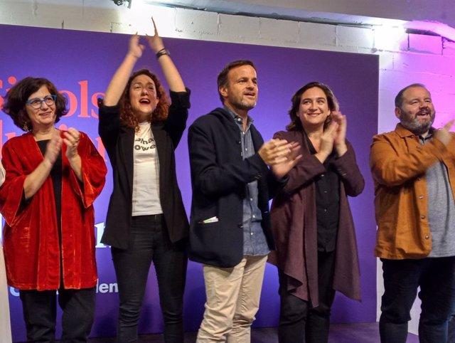 Rosa Lluch, Aina Vidal, Jaume Asens, Ada Colau i Joan Mena en l'obertura de la campanya dels comuns (ECP) a Barcelona per a les eleccions generals del 10 de novembre de 2019