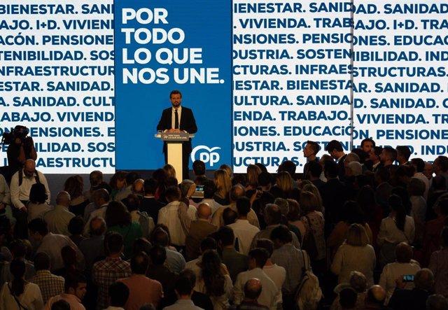 El president del PP, Pablo Casado, clausuren l'acte d'obertura de campanya de les eleccions generals del 10