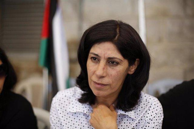 La diputada palestina Jalida Jarrar, miembro del Frente Popular para la Liberación de Palestina (FPLP)