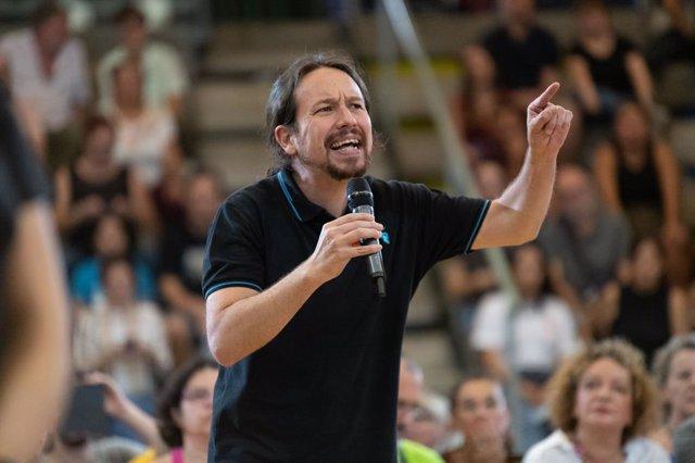 El candidat d'Unides Podem a la Presidència del Govern, Pablo Iglesias, intervé en un acte a Las Palmas de Gran Canària (Canàries/Espanya), a 27 d'octubre de 2019.