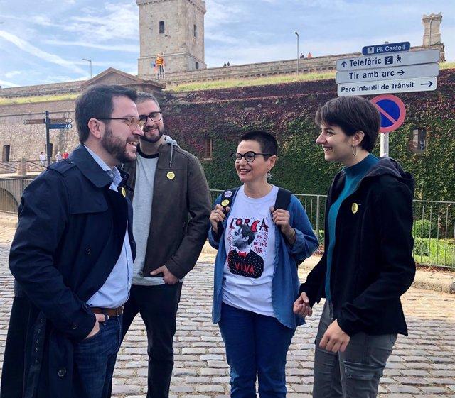 El coordinador nacional d'ERC i vicepresident de la Generalitat, Pere Aragonès, en el primer dia de campanya d'ERC per a les eleccions generals del 10 de novembre de 2019.