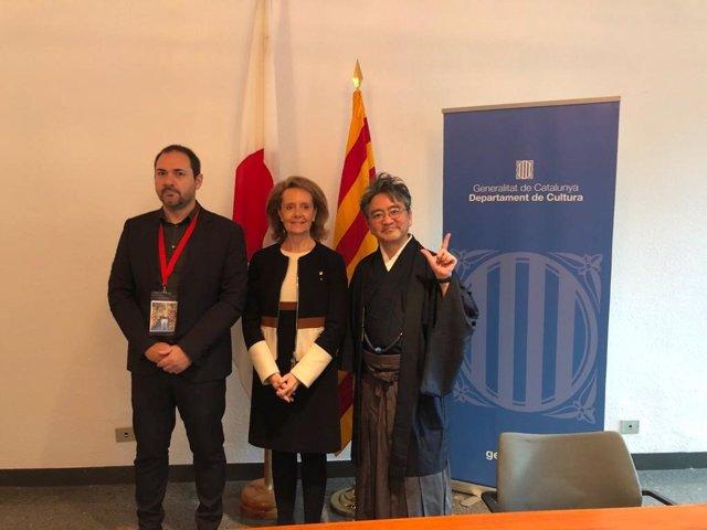 La consellera de Cultura, Maringela Vilallonga, i el president del Contents Innovation Program (CiP), Ichiya Nakamura.