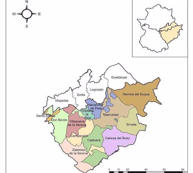 Mapa que englobaría a la tercera provincia extremeña que propone Asiseva