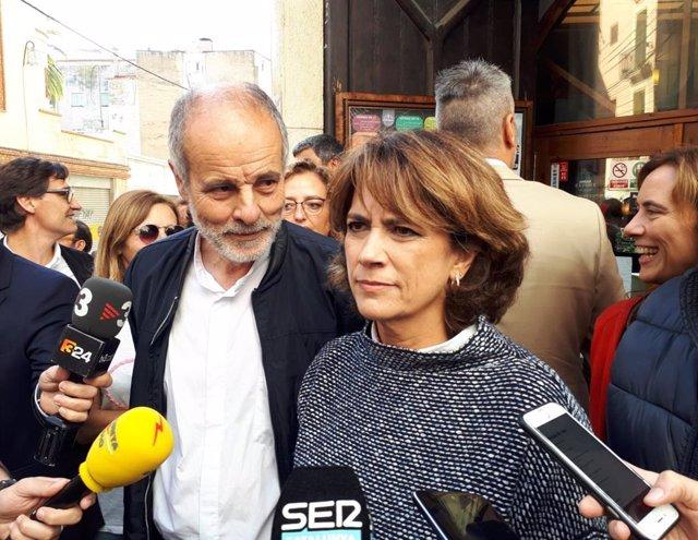 El candidat del PSC al Congrés per Tarragona, Joan Ruiz, i la ministra de Justícia, Dolores Delgado, a Tarragona per la campanya electoral de les eleccions generals del 10 de novembre de 2019.