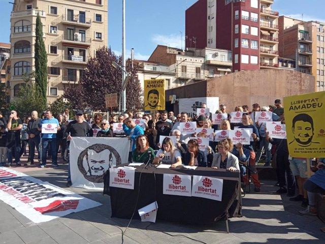Roda de premsa a Lleida de familiars de manifestants detinguts i empresonats durant les protestes contra la sentència de l'1-O.