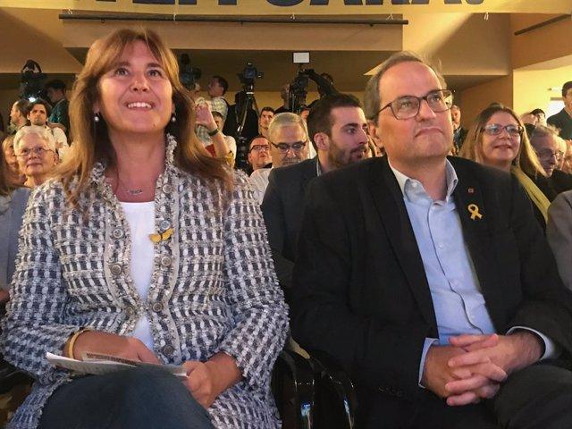 El cap de llista de JxCat al Congrés, Laura Borràs, amb el president de la Generalitat, Quim Torra.