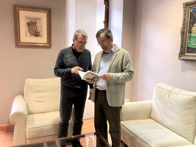 Reunión del síndic d'Aran, Francés Boya, el presidente del Senado, Manuel Cruz, en el Conselh Generau d'Aran, en Vielha (Lleida), el 2 de noviembre de 2019