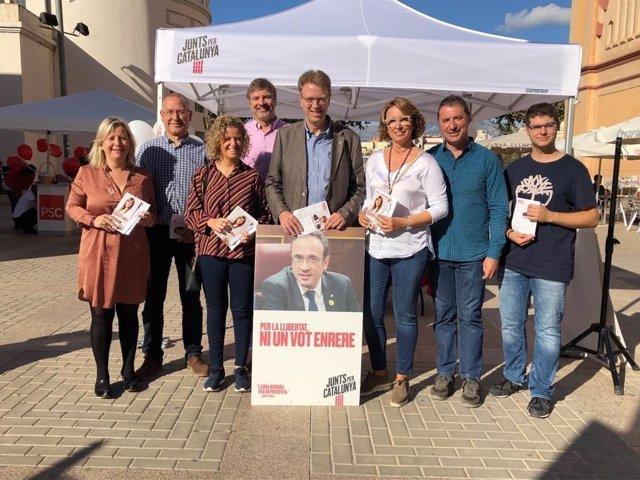 El candidat de JxCat al Congrés per Tarragona, Ferran Bel, en un acte de campanya a Tortosa.