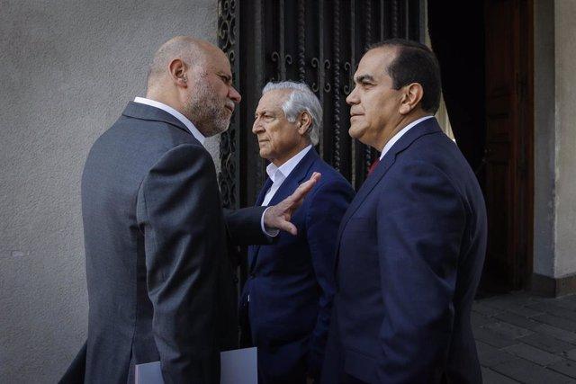 Alvaro Elizalde, presidente del Partido Socialista; Heraldo Muñoz, presidente del Partido por la Democracia, y Carlos Maldonado, presidente del Partido Radical