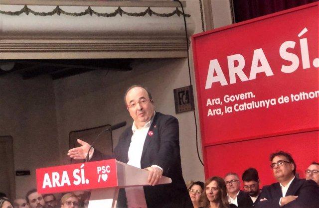 El primer secretari del PSC, Miquel Iceta, en un acte de campanya a Sant Joan Despí (Barcelona) per a les eleccions generals del 10 de novembre de 2019