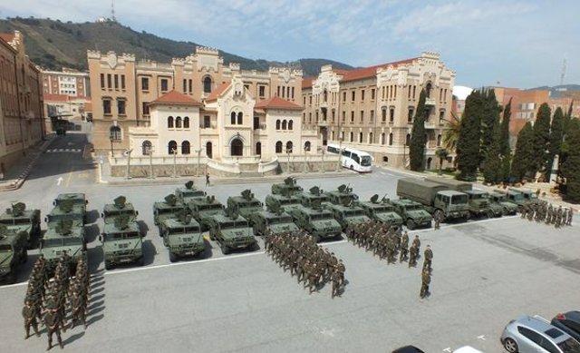 Detalle del Regimiento de Infantería Arapiles 62, del Ejército de Tierra, lista para ser revistada