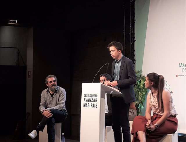 Raimundo Vell, Juan Antonio Geraldes, Íñigo Errejón i Mireia Mollà (Més País) en un míting de campanya a Barcelona per les eleccions generals del 10 de novembre de 2019