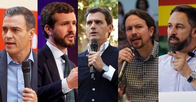 Imatge dels cinc candidats nacionals al 10N: Pedro Sánchez (PSOE), Pablo Casado (PP), Albert Rivera (Cs), Pablo Iglesias (Unides Podem) i Santiago Abascal (Vox).