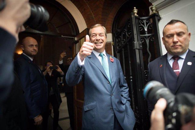 Nigel Farage, en un acto de su partido en Londres