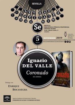 El Centro Andaluz de las Letras presenta la nueva novela de Ignacio del Valle