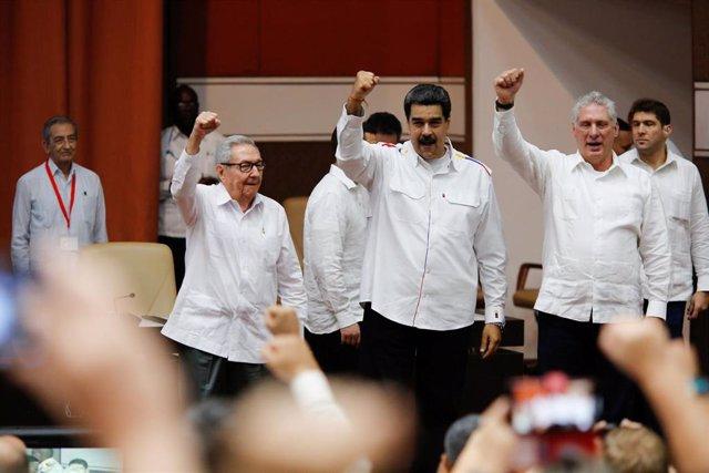 Raúl Castro, Nicolás Maduro y Miguel Díaz-Canel