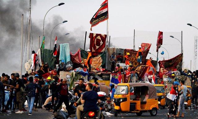 Manifestació a Bagdad contra el Govern de l'Iraq.