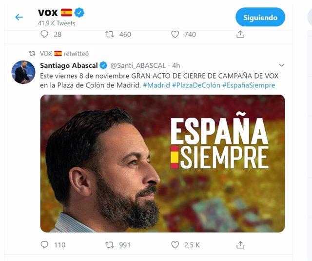 Twitter de Vox y de su líder, Santiago Abascal