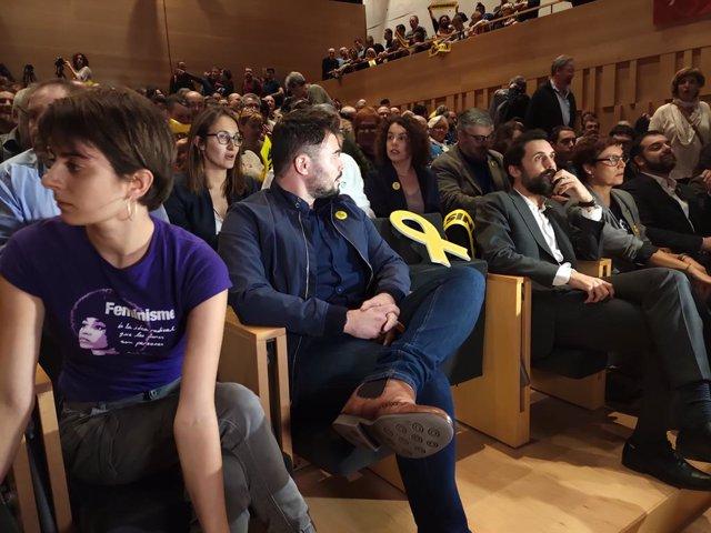 Marta Rosique,  Gabriel Rufián i Roger Torrent en un acte de campanya d'ERC a Girona per a les eleccions generals del 10 de novembre de 2019