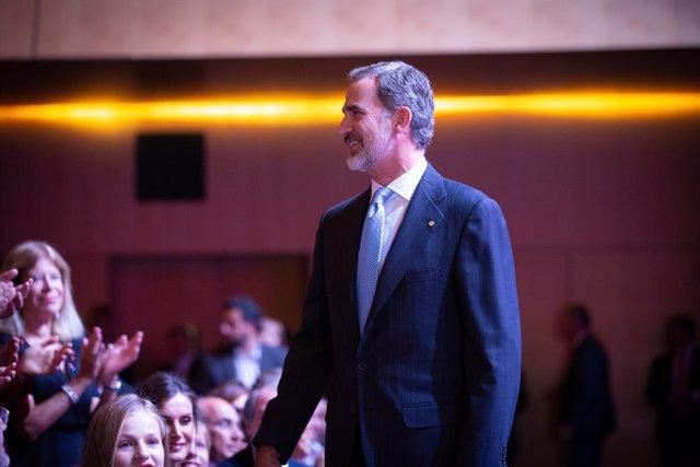 El Rei Felipe vas agafar als Premis de la FPdGi i el X aniversari en el Palau de Congressos de Barcelona (Espanya) el 4 de novembre de 2019.