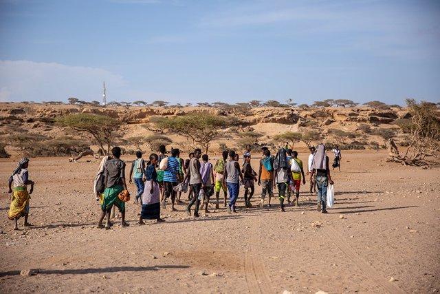 Grupo de migrantes en Yibuti