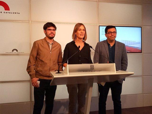 Lander Martínez (Podem Euskadi), Jéssica Albiach i Gerardo Pisarello (comuns)