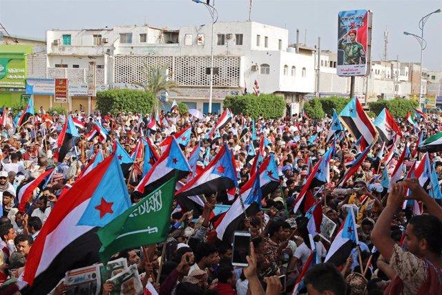 Manifestación a favor de los separatistas en Adén