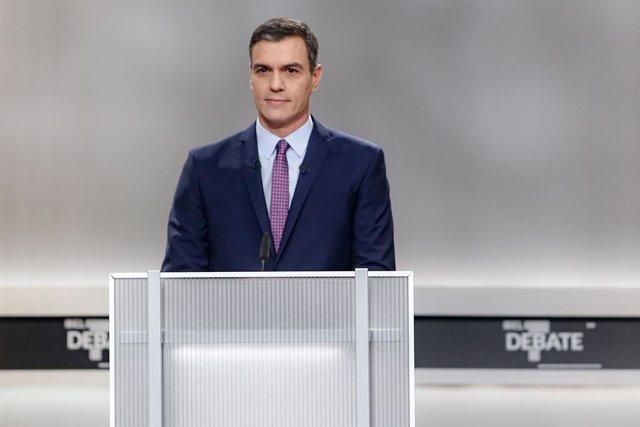 Pedro Sánchez abans del debat electoral en televisió a Madrid el 4 de novembre del 2019.