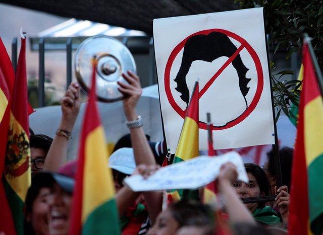 Protestas en La Paz contra la reelección del presidente de Bolivia, Evo Morales.