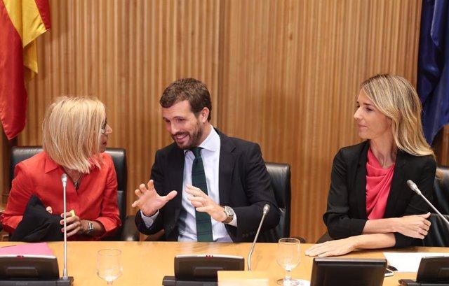 (E-D)  La fundadora d'UPyD, Rosa Díez; el president del PP, Pablo Casado; i la portaveu parlamentària del Partit Popular, Cayetana Álvarez de Toledo, al Congrés dels Diputats