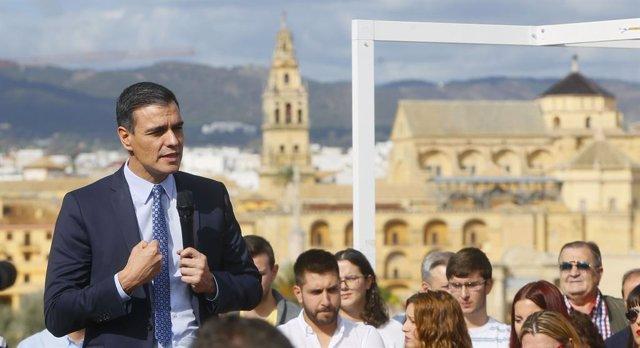 El secretari general i president del Govern central en funcions, Pedro Sánchez ,en un acte electoral a Còrdova a 6 de novembre del 2019.