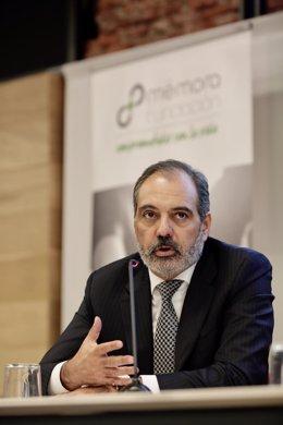 Juan Jesús Domingo, consejero delegado de Mémora, presenta el Observatorio de Ciudades que Cuidan, de la Fundación Mémora, durante una jornada en Madrid el 6 de noviembre de 2019