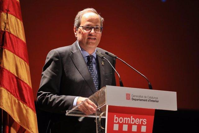 El president de la Generalitat, Quim Torra, en un acte dels Bombers a Valls (Tarragona) (ARXIU).
