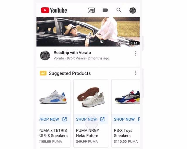 Anuncios de compra en la página principal de YouTube