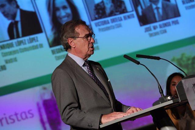 El degà de l'Il·lustre Col·legi d'Advocats de Madrid (ICAM), José María Alonso Puig, durant el seu discurs en la inauguració la VII Cimera de Dones Juristes a l'Ajuntament de Madrid, Madrid 23 d'octubre del 2019.
