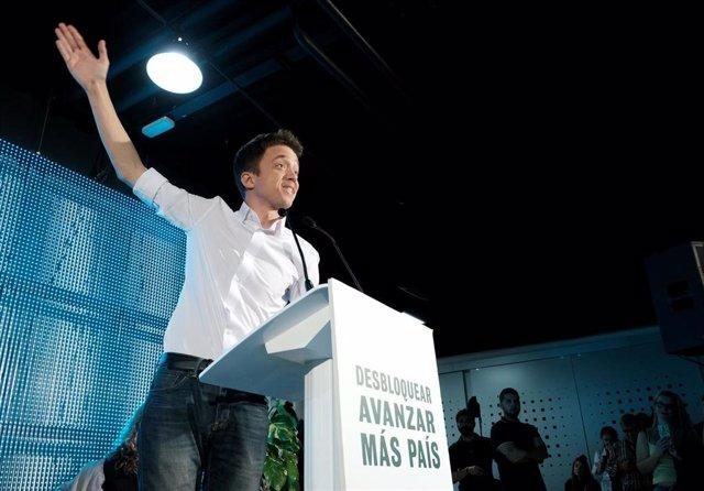 Errejón en el acto de apertura de campaña del candidato de Más País a la Presidencia del Gobierno.