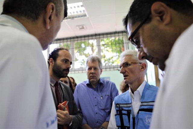 El jefe de Asuntos Humanitarios de la ONU, Mark Lowcock, en su visita a Venezuela