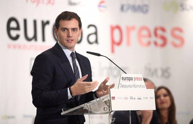 El president de Ciutadans, Albert Rivera, participa en els Esmorzars Informatius d'Europa Press a Madrid.