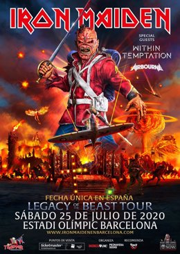 Cartell del concert d'Iron Maiden a Barcelona.