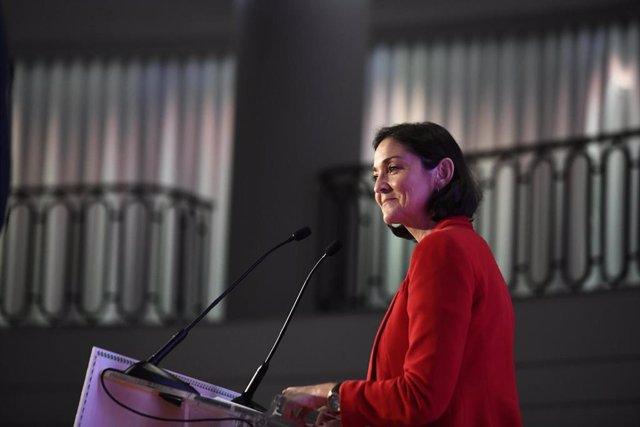 La ministra de Industria, Comercio y Turismo en funciones, Reyes Maroto, interviene en El Ágora de 'elEconomista'  en el Hotel The Westin Palace de Madrid (España), a 7 de noviembre de 2019.