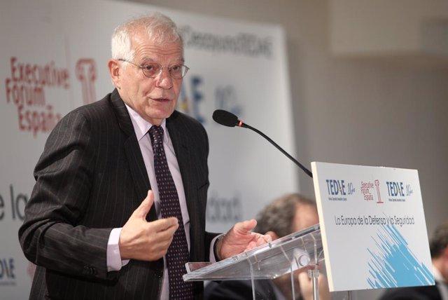 El ministre d'Afers exteriors, Unió Europea i Cooperació en funcions, Josep Borrell, protagonitza l'esmorzar informatiu organitzat per Executive Forum a Madrid (Espanya), a 6 de novembre de 2019