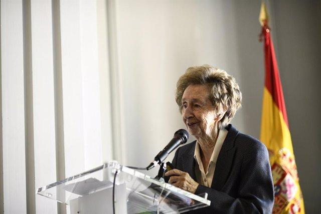 La bioquímica Margarita Salas, durant la seva intervenció en l'acte d'homenatge a l'Institut Nacional d'Investigació i Tecnologia Agrria (INIA)